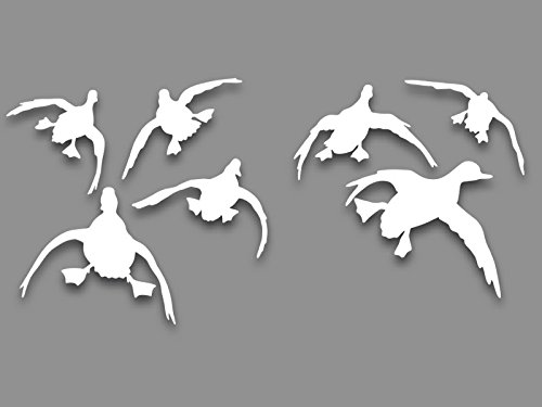 Decaknetwork Tolling Landing Ducks 7 Vinyl Decals for car Truck SUV Window Glass Waterfowl Mallard Hunting Graphics ()