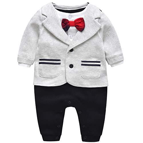 a834cb8ce22dd Kanodan ロンパース ベビーロンパース 重ね着風 新生児 服 フォーマル 結婚式 カバーオール ベビー服 男の子 長袖