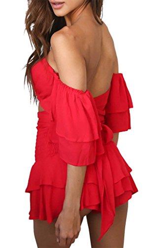 manica rosso Abito miniabito party vita Rosso cinta voulant barca balze a scollo sexy gonna zrqPAUz