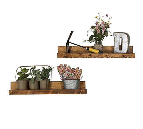 del Hutson Designs Handmade 5H x 24W x 7D-Inch Rustic Luxe Floating Shelves (2 Pack), Walnut