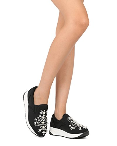Alrisco Vrouwen Met Juwelen Getooide Sneaker - Faux Pearl And Jewellery Jogger - Strass Slip Op Sneaker - He36 By Dbdk Collection Black Mix Media