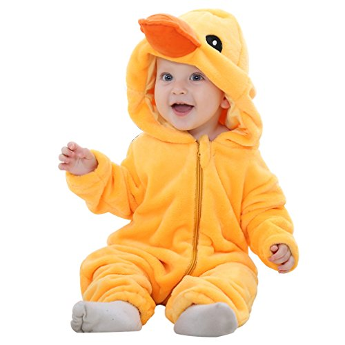 IDGIRL Baby Duck Costume, Animal Cosplay Pajamas for Baby Boy Winter Flannel Romper Outfit 12-18 Months, Yellow One Piece -