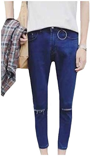 MirrorMen Mirror Men's Stylish Washed Hong Kong Style Pencil Ripped Knee-Hole Cozy Jean Pants Blue L