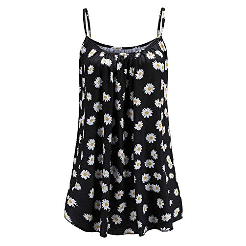 Women's Summer Floral Vest Top Sleeveless Sun Flower Camisole Flowy Casual Tank Tops Black (Best Plus Size Boutiques)
