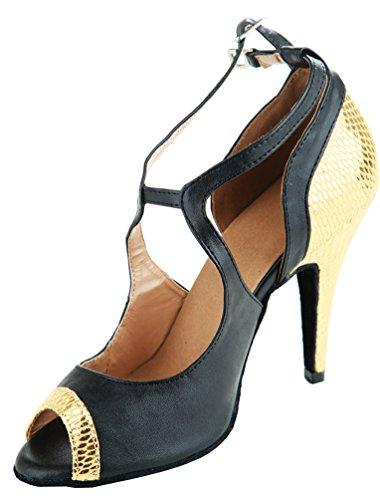 Abby Q-6131 Mujeres Latin Zapatos Ballroom 3/4 Custom Heel Dance Zapatos Gold