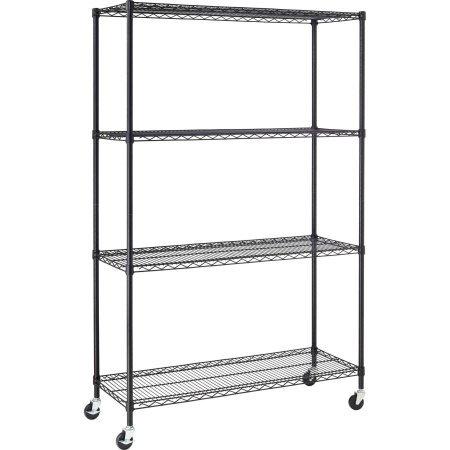 (Hyper Tough 4-Shelf Commercial Grade Wire Shelving System with Bonus Shelf Liners and Casters, Black)