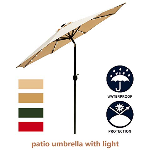 Leisurelife 9′ Patio Umbrella with Lights Outdoor – Beige Patio Table Umbrellas,8 Sturdy Ribs,Solar Power