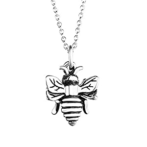 YFN Bee Necklace Sterling Silver Bumble Bee Queen Bee Bumblebee Honeycomb Pendant Necklace (Bee Necklace)