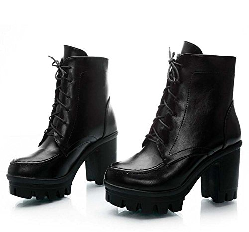 9cm Chunkly Heel Martin Botas Ankel Boots Botas de Vestir Mujeres Moda Redonda Toe Cordón 3cm Thick Plataforma Knight Boots Botas de boda Eu Tamaño 32-43 Black