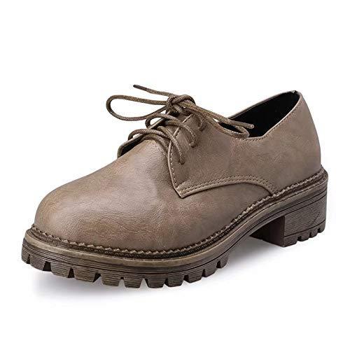 De Negro Británico Alto Zapatos Pequeños color 37 Retro Tacón Hhgold Talón Grueso 35 Las Británicos Mujeres Tamaño Zq5wzwFtx