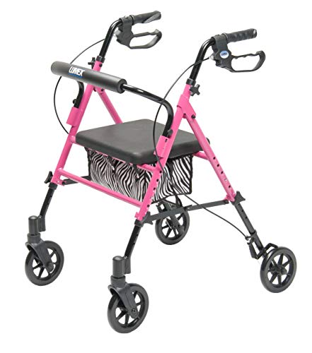 (Lumex Set n' Go 2-in-1 Height-Adjustable Rollator, Pink with Zebra Pouch, RJ4700P)