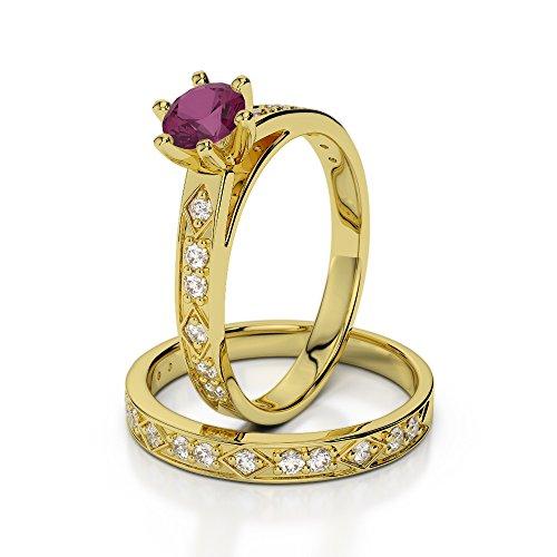 Or jaune 18carats 1/2ct G-H/VS Certifié Coupe ronde Rubis et diamant de mariage Bague de fiançailles et ensemble de Agdr-1151