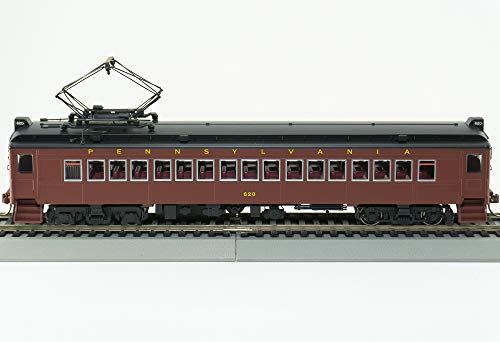 Aluminum Passenger Coach - Famous HO Pennsylvania MUmP54 1 Powered Coach car w/Aluminum Window Frames (PRR Tuscan Red,Black roof,) Futura Scheme Runs on DC Out of Box, Easy Install of DCC decoder (not Included) only 4 Left