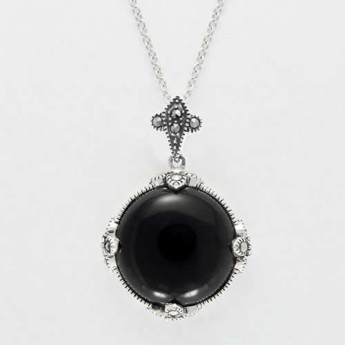 (Aura 925 Sterling Silver Genuine Black Onyx and Marcasite Gemstone Pendant with 16