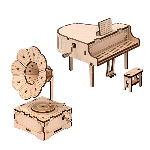 LRIGYEH Hands Craft DIY 3D Wooden Puzzle Model Kit - Piano Music Box, Hand Crank Engraved Musical Box, Brain Teaser and Educational STEM Building DIY Kits