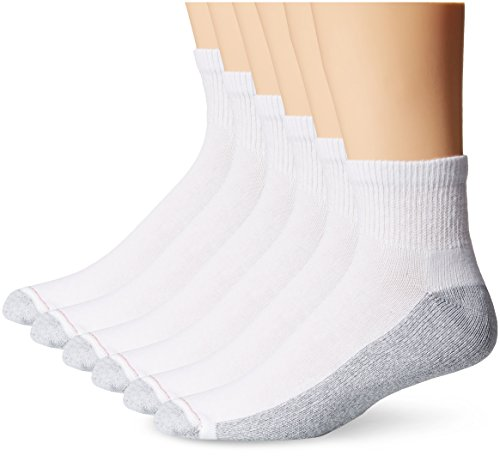 Tall Mens Athletic Socks - Hanes Men's FreshIQ Big-Tall ComfortBlend Ankle Socks, White, 12-14 (Pack of 6)