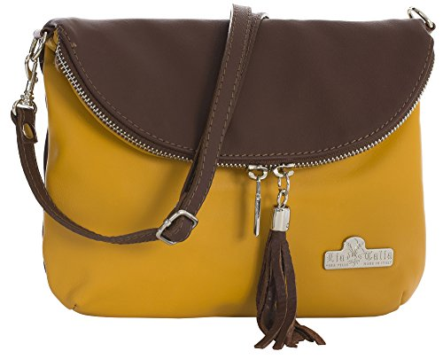 Yellow Mini Cross Body Bag Shoulder AMY Leather Messenger Soft LIATALIA Trim Brown Size Small Real Italian Mustard YXwq1xz6