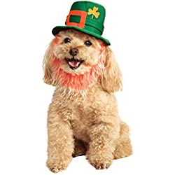 Rubie's St. Patty's Day Pet Costume Hat with Beard, Small/Medium, Multicolor