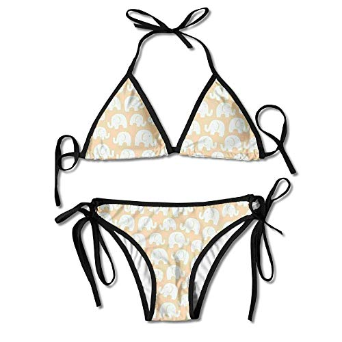 Kasiola Cute Elephant Triangle Bikini Set Bathing Suit with Tie Side Bottom