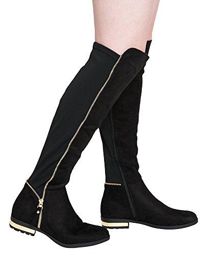 SheLikes, Damen Stiefel & Stiefeletten Schwarz schwarze Velourslederoptik
