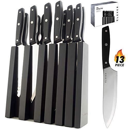 Elever Knife Set - Kitchen Knife Set with Block, 13 Kitchen Knives with Knife Sharpener, Chef Knife, Kitchen Scissors, Steak Knives. Modern Knives Kitchen Set, House Kitchen Decor, Cutlery Set Gift