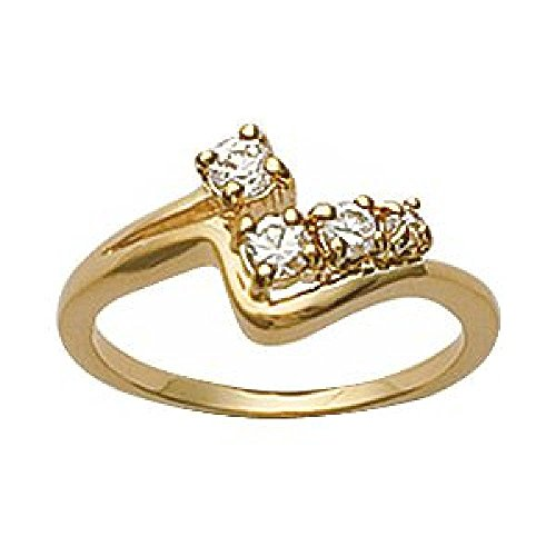 Wishbone Gold Rings (So Chic Jewels - Ladies 18k Gold Plated Clear Cubic Zirconia Wishbone Style Ring - Size 6)