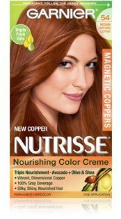 Garnier Nutrisse Nourishing Color Creme Permanent Haircolor, Limited Edition Magnetic Coppers, Medium Natural Copper 54