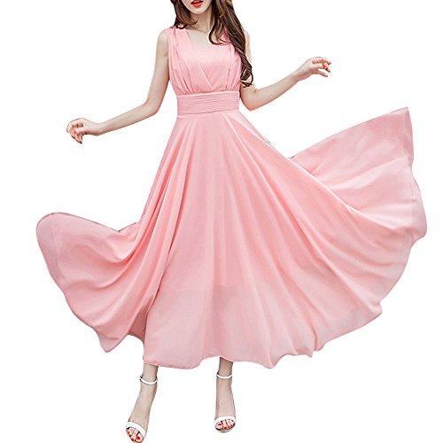 Women's Solid Color Chiffon Dress Summer Sleeveless Long high Waist Dress Skirt Bridesmaid Party Cocktail Dress MEEYA -