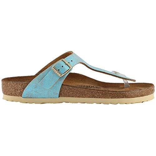 (Birkenstock Gizeh Metallic Aqua Suede Sandal 40 R (US Women's)