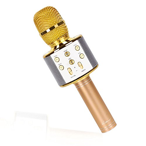 Wireless Karaoke Microphone Portable Bluetooth Microphone Music Equipment Speaker Compatible with Android & IOS (Gold)
