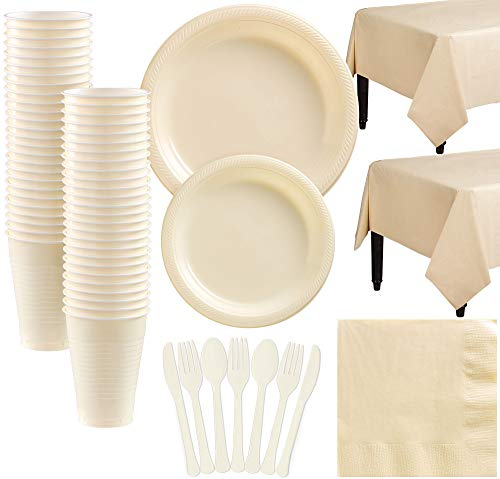 - Amscan Vanilla Plastic Tableware Kit for 50 Guests, Party Supplies, Includes Table Covers, Plates, Cups and More