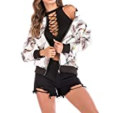 Gyoume Women Baseball Coats Bird Print Jacket Coats Teen School Outwear Tops Ladies Cardigan Coat