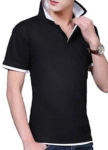 滑りやすいインサートレザー(SGL Collection) ポロシャツ メンズ 半袖 シンプル デザイン レイヤード スリムフィット バイカラー スキッパー 5色選択 大きい サイズ あり S ~ XXL 【 日本向け オリジナル サイズ仕様 】