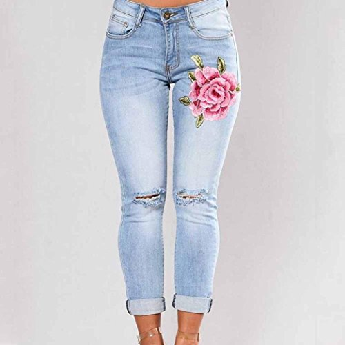 8047 Lunghi Slim Skinny Strappati Vita Ricamata Da B Con mambain Alta Donna Jeans Sulla A Pantaloni Taglio E 6waHxv