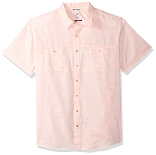 IZOD Mens Big and Tall Saltwater Chambray Solid Short Sleeve Shirt