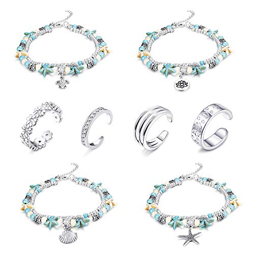 LOYALLOOK 4-8Pcs Starfish or Turtle Turquoise Stone Pendant Anklets Bracelets&Toe Ring Layered Boho Alloy Chain Anklet Heart Women Girls Bead Beach Anklet ()