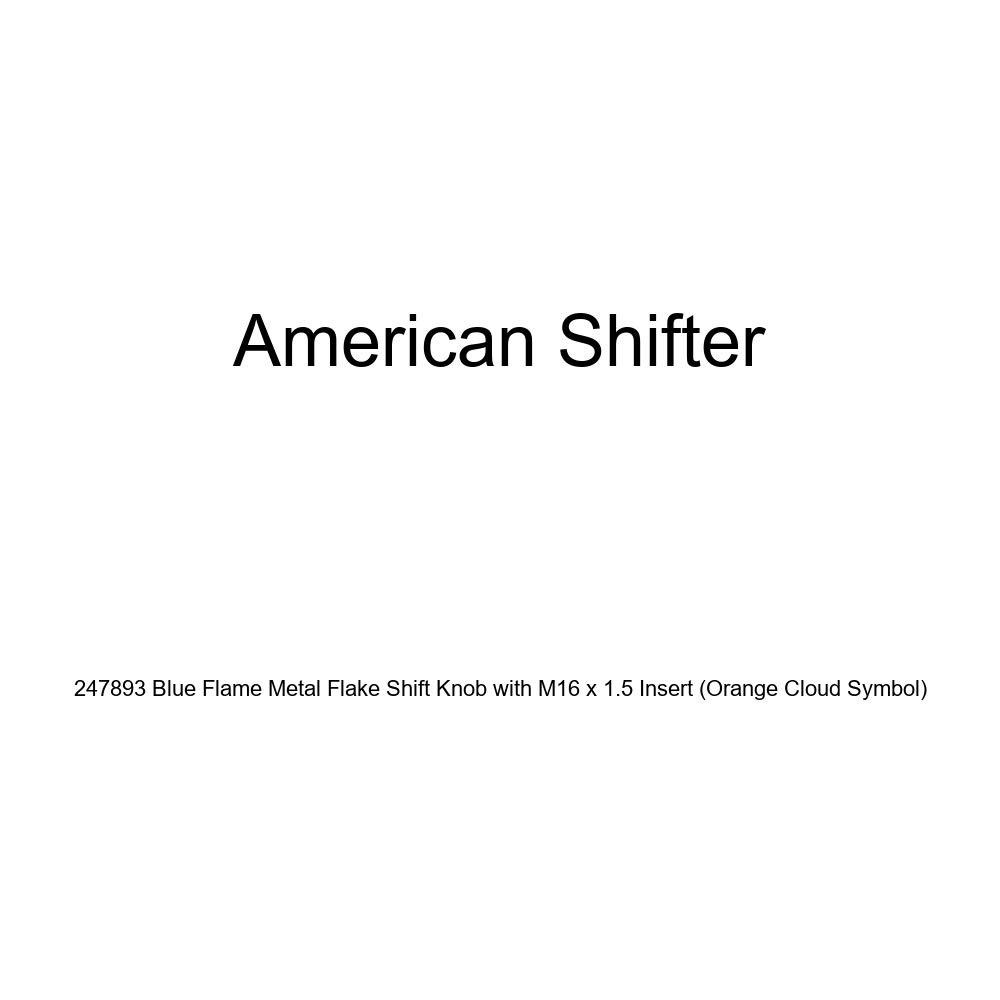 American Shifter 247893 Blue Flame Metal Flake Shift Knob with M16 x 1.5 Insert Orange Cloud Symbol
