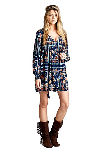 Boho-Chic Vacation & Fall Looks - Standard & Plus Size Styless - Velzera Floral Print Baby Doll Tunic Dress Boho Chic Plus Size (Navy)