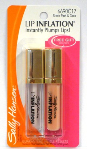 Sally Hansen Lip Inflation Plumping Treatment, Sheer Pink & Clear, 0.2 Oz Each (Pack of 2) by Sally Hansen