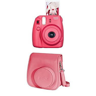 Fujifilm Instax Mini 8 Instant Film Camera + Instax Groovy Camera Case (Raspberry)