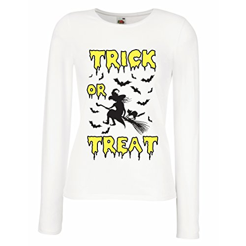 lepni.me T Shirt Women Trick or Treat - Halloween Witch - Party outfites - Scary Costume (Large White Multi Color)]()