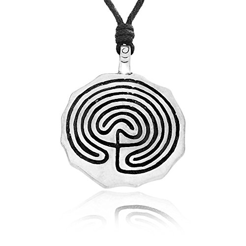 Dan's Jewelers Greek Labyrinth Spiral Necklace Pendant, Fine Pewter (Labyrinth Costume Family)