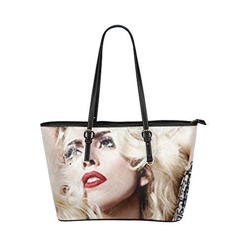 Angelinana Custom Lady Gaga Leather Tote Bag/Handbag/