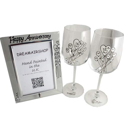 15th Crystal Wedding Anniversary Wine Glasses and Photo Frame Gift ()
