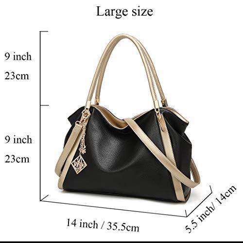 Red Women Soft Shoulder Tote Bag Large Hobo Leather Satchel Bright Purse Handbag Bag 7wC7nqBAr