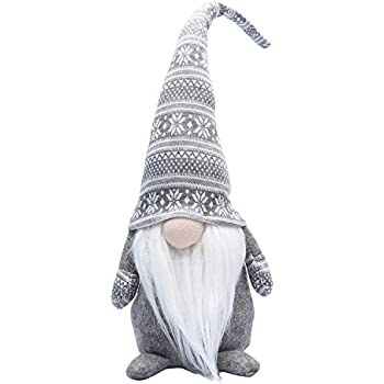 iGnome 19 Inches Handmade Christmas Gnome Decoration Swedish Figurines (Grey)
