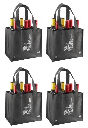 Reusable 6 Bottle Wine Tote- 4 Pack ()