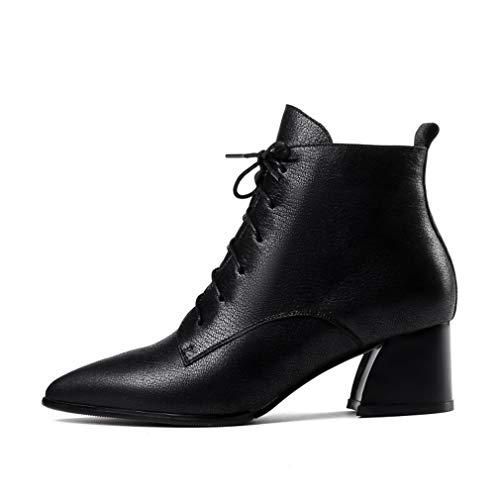 Gruesos Otoño Para Zapatos Punta Moda Cuero Cordones Botines En Yan De Con Rojo Negro Mujer Invierno HY5OW