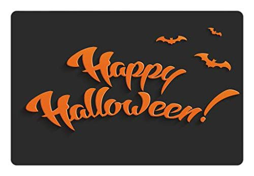 Lunarable Halloween Pet Mat for Food and Water, Flying Bats and Happy Halloween on Greyscale Background Party Fun Horror Scary, Rectangle Non-Slip Rubber Mat for Dogs and Cats, Grey Orange -
