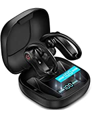 CREUSA® True Wireless Earbuds, Bluetooth Waterproof Sport Headset Built-in Mic in Ear Noise Cancelling Earhooks Cordless HD Sound Headphones with Portable Charging Case for Workout, Running, Gym (Black)
